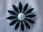 1960s Flower Power!  A Huge Bloom of a Brooch in Navy and Soft Blue (Sold)